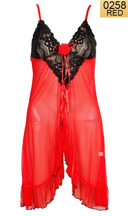 WANT-0258 - 8822-RED - SLEEVELESS SHORT NIGHTY IMPORTED NET MATERIAL