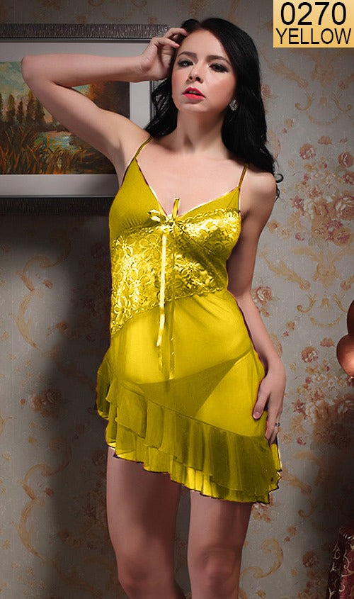 WANT-0270 - 8067-YELLOW - SLEEVELESS SHORT NIGHTY IMPORTED NET MATERIAL