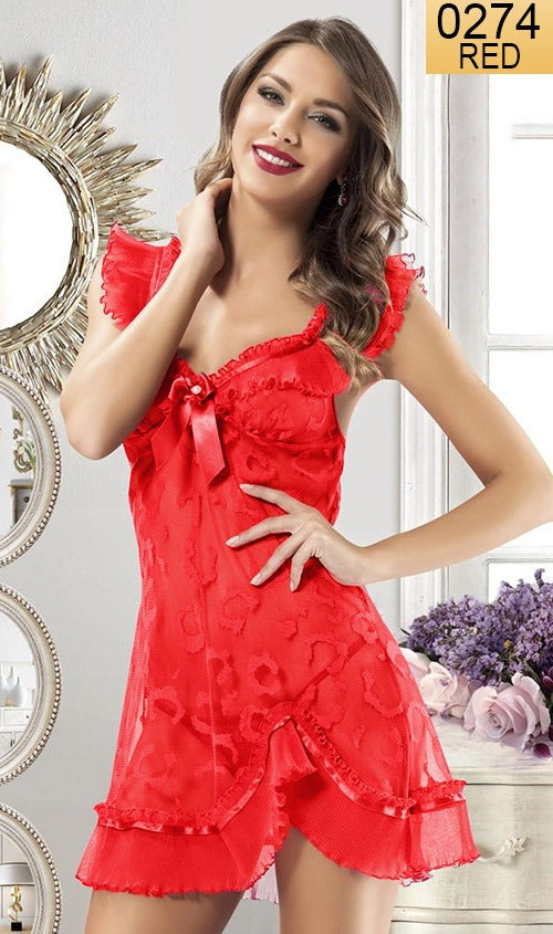 WANT-0274 - 9925-RED - SLEEVELESS SHORT NIGHTY IMPORTED NET MATERIAL