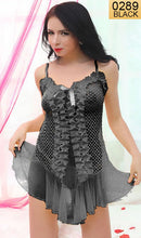 Load image into Gallery viewer, WANT-0289 - 8072-BLACK - SLEEVELESS SHORT NIGHTY IMPORTED NET MATERIAL