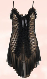WANT-0289 - 8072-BLACK - SLEEVELESS SHORT NIGHTY IMPORTED NET MATERIAL
