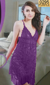 WANT-0295 - 8845-PURPLE - SLEEVELESS SHORT NIGHTY IMPORTED NET MATERIAL