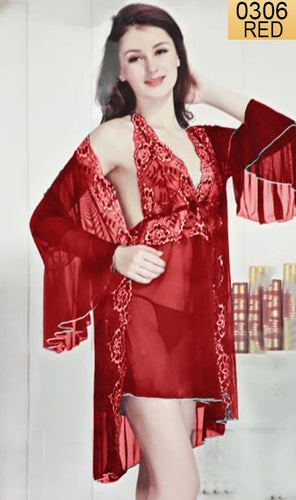 WANT-0306 - 1170-RED - SLEEVELESS SHORT NIGHTY IMPORTED NET MATERIAL