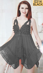 WANT-0314 - 0990-BLACK - SLEEVELESS SHORT NIGHTY IMPORTED NET MATERIAL