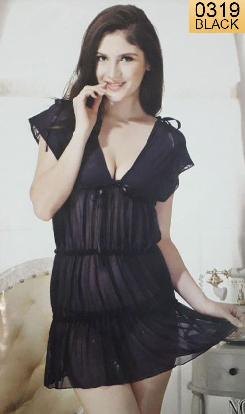 WANT-0319 - 0956-BLACK - SLEEVELESS SHORT NIGHTY IMPORTED NET MATERIAL