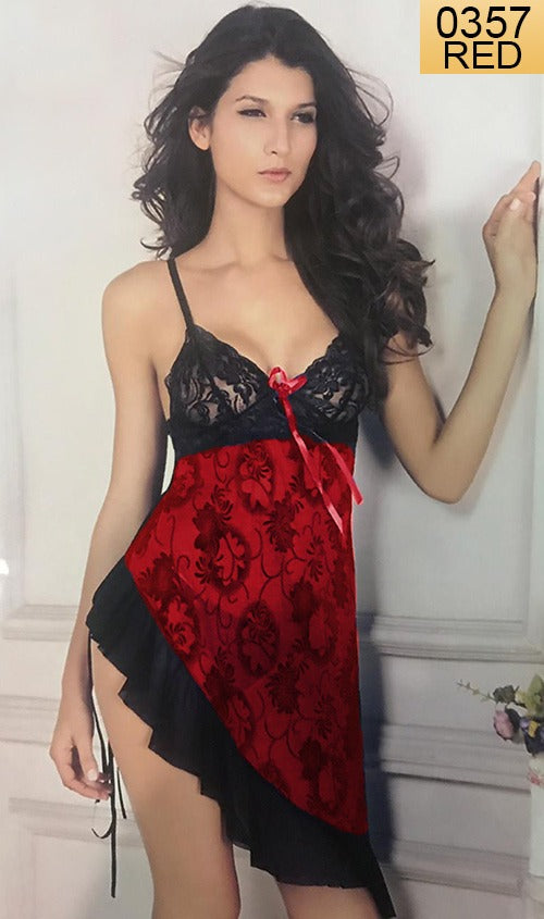 WANT-0357 - 8013-RED - SLEEVELESS SHORT NIGHTY IMPORTED NET MATERIAL