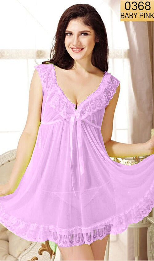WANT-0368 - 0953-BABY PINK - SLEEVELESS SHORT NIGHTY IMPORTED NET MATERIAL