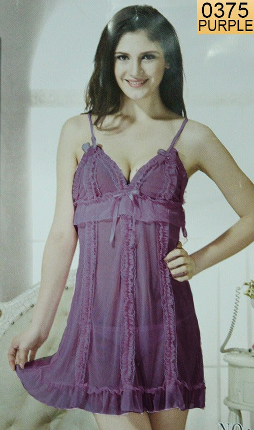 WANT-0375 - 0951-PURPLE - SLEEVELESS SHORT NIGHTY IMPORTED NET MATERIAL