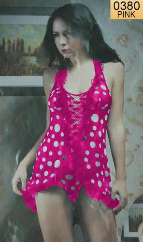 WANT-0380 - 3016-PINK - SLEEVELESS SHORT NIGHTY IMPORTED NET MATERIAL