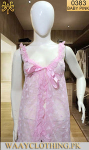 WANT-0383 - 0913-BABY PINK - SLEEVELESS SHORT NIGHTY IMPORTED NET MATERIAL