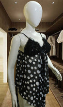 Load image into Gallery viewer, WANT-0385 - 9008-BLACK - SLEEVELESS SHORT NIGHTY IMPORTED NET MATERIAL