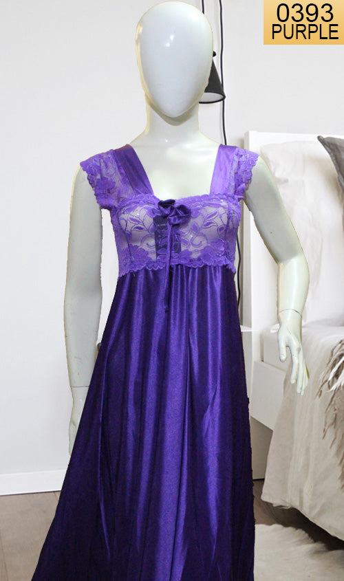 WANT-0393 - PURPLE - SLEEVELESS NIGHTY IMPORTED SATIN MATERIAL