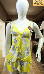 WANT-0409 SP-11 - YELLOW - SLEEVELESS SHORT NIGHTY IMPORTED SILK MATERIAL
