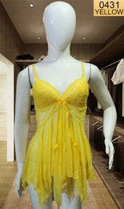 WANT-0431 SP-16 - YELLOW - SLEEVELESS SHORT NIGHTY IMPORTED NET MATERIAL