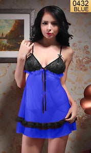 WANT-0432 8098 - BLUE - SLEEVELESS SHORT NIGHTY IMPORTED NET MATERIAL