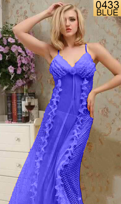 WANT-0433 8639 - BLUE - SLEEVELESS LONG NIGHTY IMPORTED NET MATERIAL