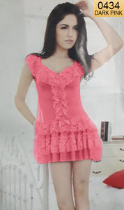 WANT-0434 0943 - DARK PINK - SLEEVELESS SHORT NIGHTY IMPORTED NET MATERIAL