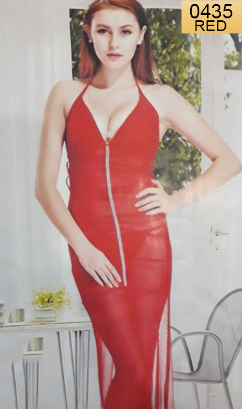 WANT-0435 1006 - RED - SLEEVELESS LONG NIGHTY IMPORTED NET MATERIAL