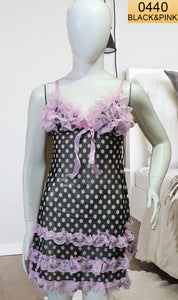 WANT-0440 0911 - BLACK & PINK - SLEEVELESS SHORT NIGHTY IMPORTED NET MATERIAL
