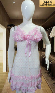 WANT-0444 0911 - WHITE & PINK - SLEEVELESS SHORT NIGHTY IMPORTED NET MATERIAL