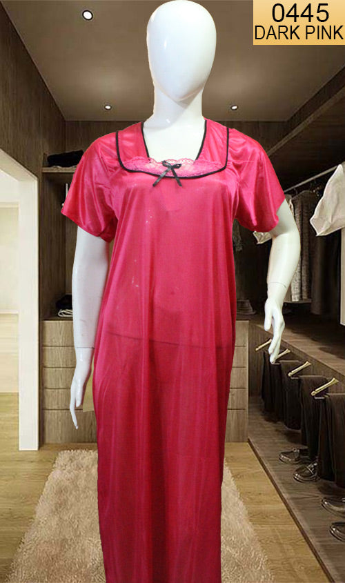 WANT-0445 SP-20 - DARK PINK - HALF SLEEVES LONG NIGHTY IMPORTED SATIN MATERIAL