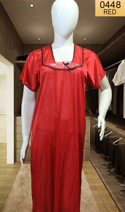 WANT-0448 SP-20 - RED - HALF SLEEVES LONG NIGHTY IMPORTED SATIN MATERIAL