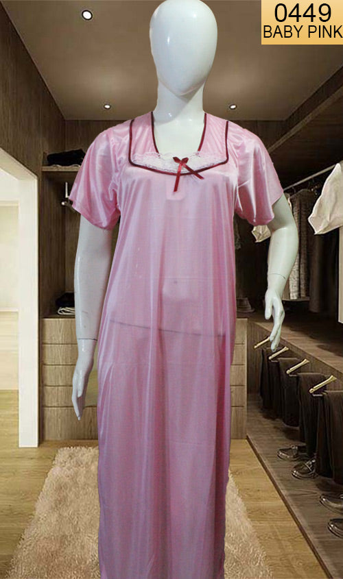 WANT-0449 SP-20 - BABY PINK - HALF SLEEVES LONG NIGHTY IMPORTED SATIN MATERIAL
