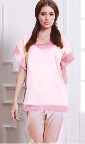WAPS-0006-PINK - 2 PCS PAJAMA SHIRT SLEEP WEAR NIGHTY IMPORTED COTTON MATERIAL