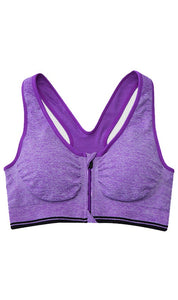 WASB-0021 - FRONT ZIP SPORTS BRA IMPORTED - STRETCHABLE MATERIAL