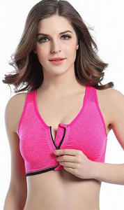 WASB-0024 - FRONT ZIP SPORTS BRA IMPORTED - STRETCHABLE MATERIAL