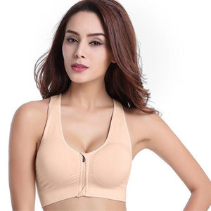WASB-0035 - FRONT ZIP SPORTS BRA IMPORTED - STRETCHABLE MATERIAL