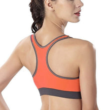 Load image into Gallery viewer, WASB-0050 - ORANGE-FRONTZIP - SPORTS BRA IMPORTED - STRETCHABLE MATERIAL