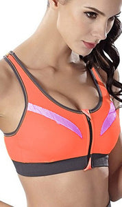 WASB-0050 - ORANGE-FRONTZIP - SPORTS BRA IMPORTED - STRETCHABLE MATERIAL
