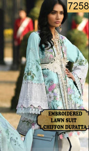 WYAB-7258 - EMBROIDERED DESIGNER 3PC LAWN SUIT WITH CHIFFON DUPATTA - SUMMER COLLECTION 2019 / 2020