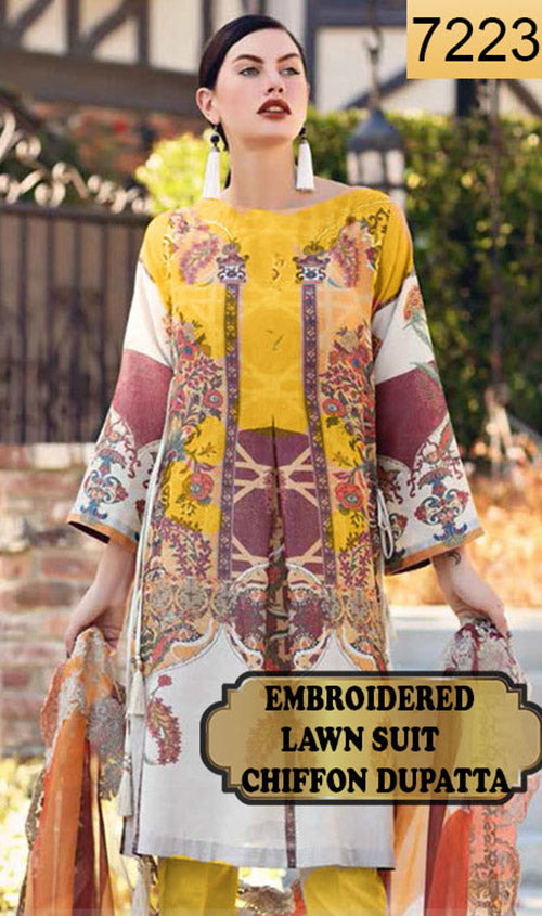 WYAJ-7223 - NECK EMBROIDERED DESIGNER 3PC LAWN SUIT WITH CHIFFON DUPATTA - SUMMER COLLECTION 2019- 2020