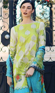 WYAJ-7297 - FRONT EMBROIDERED DESIGNER 3PC LAWN SUIT WITH LAWN DUPATTA - SUMMER COLLECTION 2019- 2020