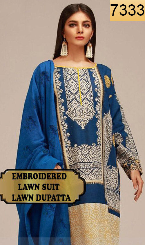 WYAJ-7333 - NECK EMBROIDERED DESIGNER 3PC LAWN SUIT WITH LAWN DUPATTA - SUMMER COLLECTION 2019- 2020