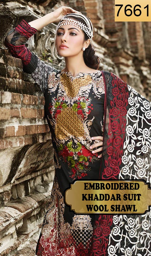 WYAJ-7661 - NECK EMBROIDERED DESIGNER 3PC KHADDAR SUIT WITH WOOL SHAWL - WINTER COLLECTION 2019 / 2020