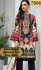 WYAJ-7666 - NECK EMBROIDERED DESIGNER 3PC KHADDAR SUIT WITH WOOL SHAWL - WINTER COLLECTION 2019 / 2020