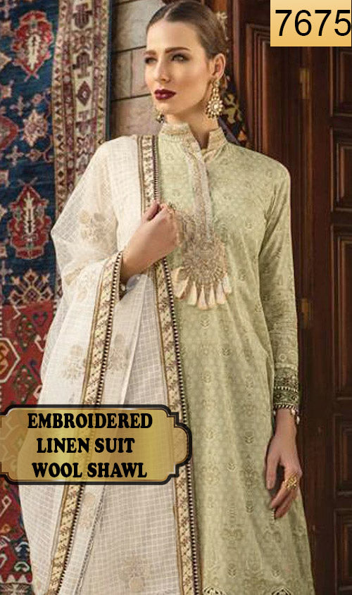 WYAJ-7675 - NECK EMBROIDERED DESIGNER 3PC LINEN SUIT WITH WOOL SHAWL - WINTER COLLECTION 2019 / 2020
