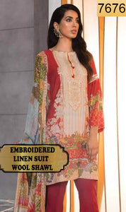 WYAJ-7676 - NECK EMBROIDERED DESIGNER 3PC LINEN SUIT WITH WOOL SHAWL - WINTER COLLECTION 2019 / 2020
