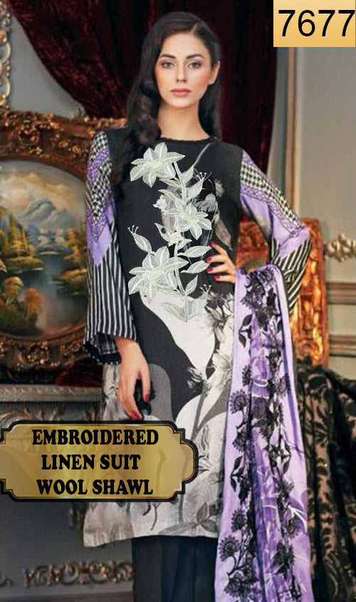 WYAJ-7677 - NECK EMBROIDERED DESIGNER 3PC LINEN SUIT WITH WOOL SHAWL - WINTER COLLECTION 2019 / 2020