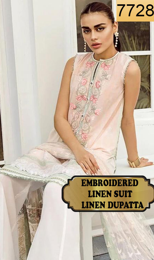 WYAJ-7728 - NECK EMBROIDERED DESIGNER 3PC LINEN SUIT WITH LINEN DUPATTA - WINTER COLLECTION 2019 / 2020
