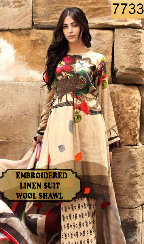 WYAJ-7733 - EMBROIDERED DESIGNER 3PC LINEN SUIT WITH WOOL SHAWL - WINTER COLLECTION 2019 / 2020