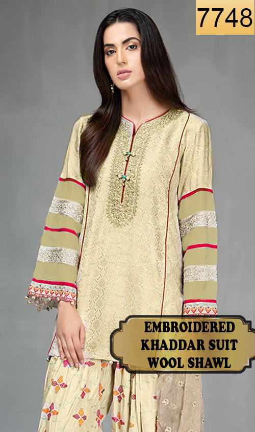 WYAJ-7748 - NECK EMBROIDERED DESIGNER 3PC KHADDAR SUIT WITH WOOL SHAWL - WINTER COLLECTION 2019 / 2020