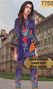 WYAJ-7755 - NECK EMBROIDERED DESIGNER 3PC LINEN SUIT WITH WOOL SHAWL - WINTER COLLECTION 2019 / 2020