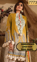 Load image into Gallery viewer, WYAJ-7773 - NECK EMBROIDERED DESIGNER 3PC LINEN SUIT WITH WOOL SHAWL - WINTER COLLECTION 2019 / 2020