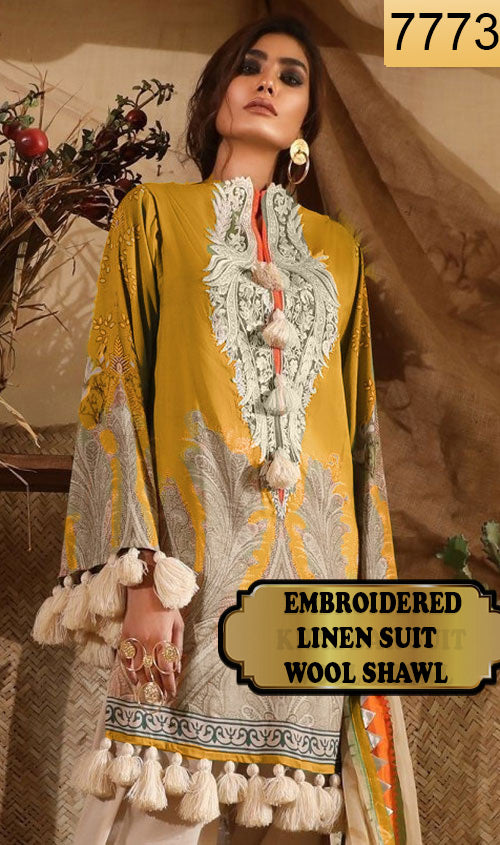 WYAJ-7773 - NECK EMBROIDERED DESIGNER 3PC LINEN SUIT WITH WOOL SHAWL - WINTER COLLECTION 2019 / 2020