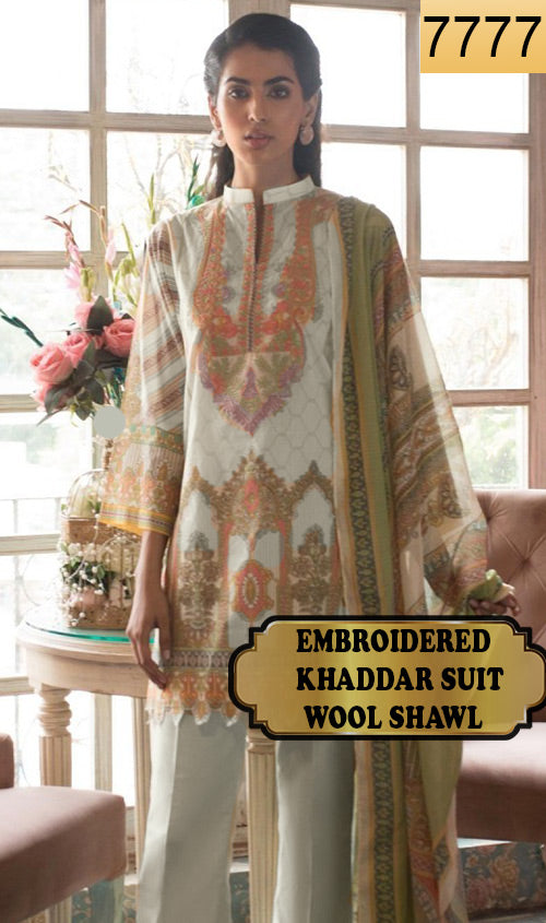 WYAJ-7777 - NECK EMBROIDERED DESIGNER 3PC KHADDAR SUIT WITH WOOL SHAWL - WINTER COLLECTION 2019 / 2020