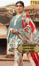 Load image into Gallery viewer, WYAJ-7783 - NECK EMBROIDERED DESIGNER 3PC LINEN SUIT WITH WOOL SHAWL - WINTER COLLECTION 2019 / 2020